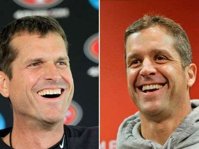 Jim Harbaugh y John Harbaugh, hermanos, dirigen a los 49ers y Ravens, respectivamente. Foto: AP