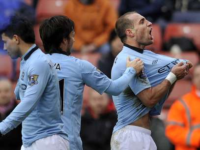 Pablo Zabaleta celebrates after opening up the score against Stoke City.  Foto: Getty Images