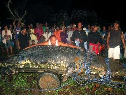 En esta fotografía de archivo del 4 de septiembre de 2011, varias personas observan a un enorme cocodrilo recién capturado en la localidad de Bunawan en la provincia filipina de Agusán del Sur. El reptil, adoptado por la comunidad, le dio renombre a Bunawan al ser considerado como el cocodrilo más grande del mundo en cautiverio. El cocodrilo murió el domingo 10 de febrero de 2013 y dejó a Bunawan sumido en la tristeza. En la imagen, el alcalde Edwin Cox Elorde intenta mostrar la magnitud del reptil.  Foto: archivo / AP