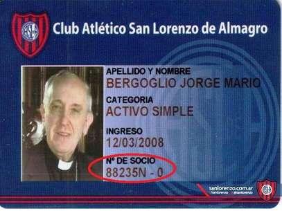 El carnet de socio de San Lorenzo de Jorge Mario Bergoglio, nuevo Papa Francisco I Foto: Club Atlético San Lorenzo de Almagro