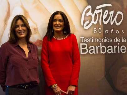 La presidenta del DIF estatal, María Guadalupe Romeroy la hija del artista,Lina Botero,inauguraron la muestra. Foto: Notimex