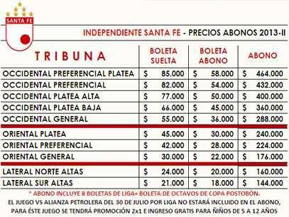 Lista de precios para abonados durante la Liga Postobón II-2013 Foto: Oficial