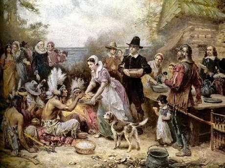 El primer Acción de Gracias congregó dos pueblos distintos unidos por el agradecimiento a la tierra. Foto: Pintura de Jean Leon Gerome Ferris / WikiCommons