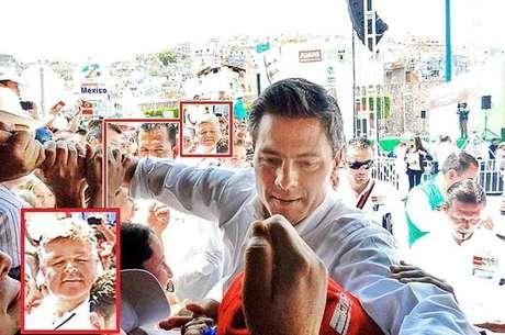 Pablo Zárate (recuadro) colaboró en un mitin de Enrique Peña Nieto en Guanajuato el pasado 15 de abril. Foto: Reforma.