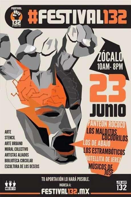 Un día después de que músicos mexicanos unieran sus voces para apoyar al Movimiento #YoSoy132 en el Centro Histórico de la Ciudad de México, se anunció el #Festival132. Foto: Terra