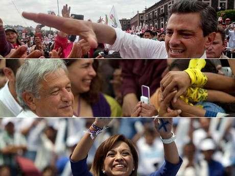Enrique Peña Nieto, Andrés López Obrador y Josefina Vázquez Mota son los candidatos con más chance de ganar las elecciones. Gabriel Quadri está relegado según las encuestas. Foto: AP