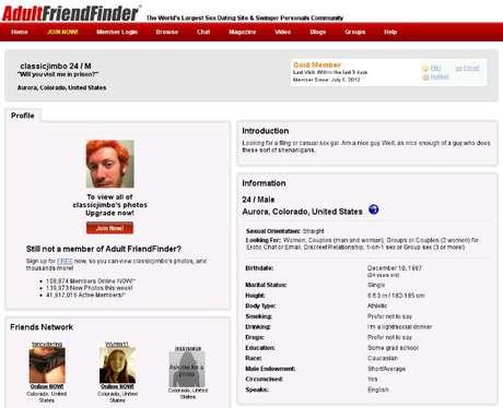 El perfil de James Holmes en adultfriendfinder.com Foto: REPRODUCCION