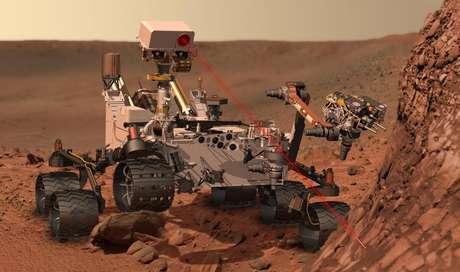 Concepto artístico del explorador rodante Curiosity de la NASA que llegará esta semana a Marte. Tras un recorrido de 566,4 millones de kilómetros (352 millones de millas) en ocho meses y medio, Curiosity intentará descender el 5 de agosto de 2012 en la superficie marciana.  Foto: AP