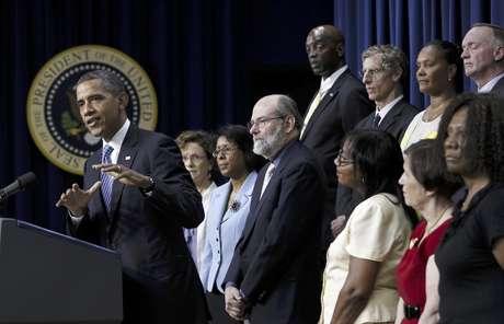 El presidente Barack Obama encabeza un acto el viernes 3 de agosto de  2012 en la Casa Blanca.  Foto: Pablo Martínez Monsiváis / AP