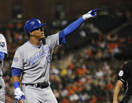 Royal's Salvador Perez celebrates after hitting a two-run homerun against the Baltimore Orioles. Foto: AP in English