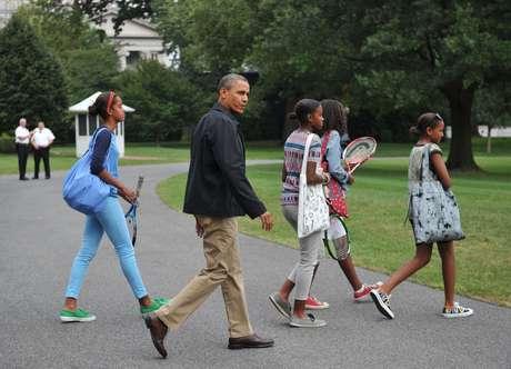 Obama regresa a la Casa Blanca desde Camp David con su familia. Foto: Getty Images