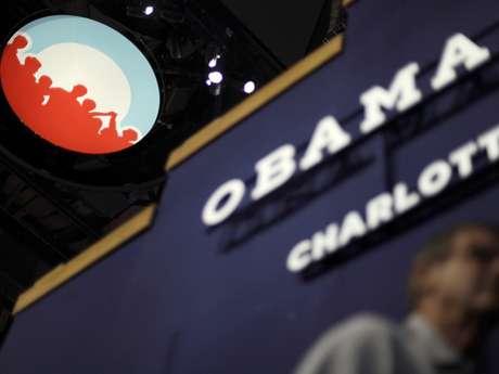 Logotipo de la campaña del presidente Barack Obama en la Arena Time Warner Cable, en la Convención Nacional Demócrata, en Charlotte, Carolina del Norte, el lunes 3 de septiembre de 2012. Foto: AP