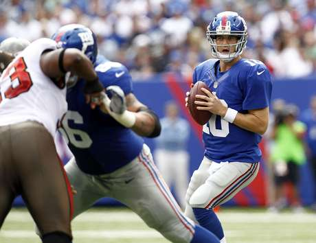 Eli Manning #10 of the New York Giants plays against the Tampa Bay Buccaneers during a game at MetLife Stadium on September 16, 2012 in East Rutherford, New Jersey. Foto: Getty Images