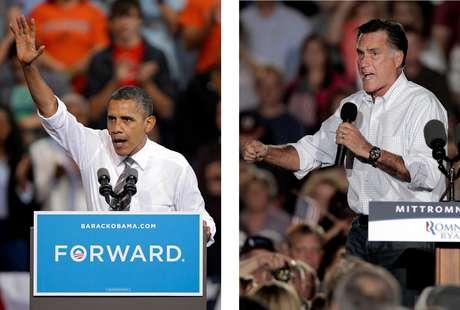 En esta fotografía del 26 de septiembre de 2012, el presidente Barack Obama y el candidato presidencial republicano Mitt Romney hacen campaña en Ohio. Ambos candidatos tienen misiones específicas para la serie de tres debates que comienza el miércoles 3 de octubre de 2012. Obama debe convencer a los estadounidenses escépticos de que en un segundo periodo de gobierno podrá cumplir lo que no pudo en el primero. Romney, en tanto, necesita inspirar confianza en que es una alternativa más creíble Foto: AP