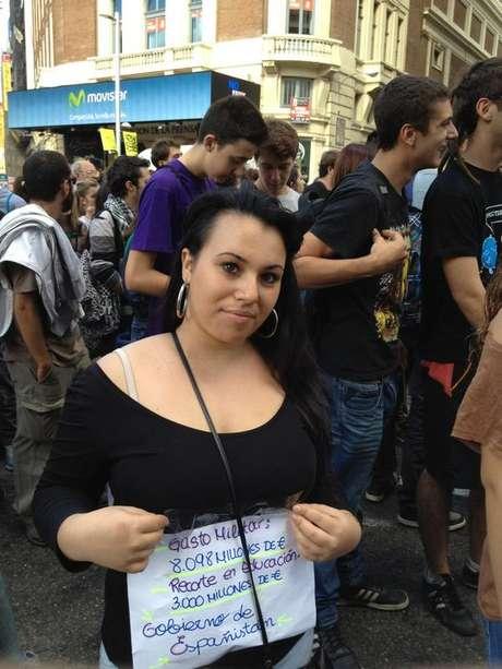 Una joven en una manifestación estudiantil Foto: Javier P. Rey