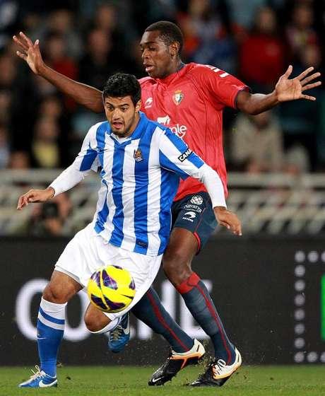 Carlos Vela no logró ayudar a la Real Sociedad en el empate sin goles ante el Osasuna. Foto: EFE