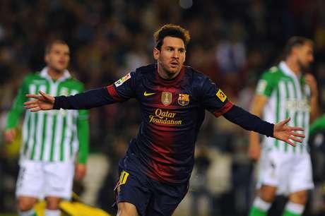 Lionel Messi anotó un doblete ante el Betis para quebrar el récord que pertenecía al alemán Gerd Müller. Foto: AFP
