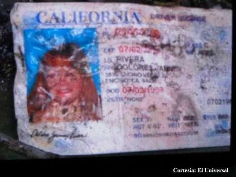 Esta es la licencia de manejo de Jenni Rivera de California, lo cual confirma su muerte Foto: Courtesy of El Universal