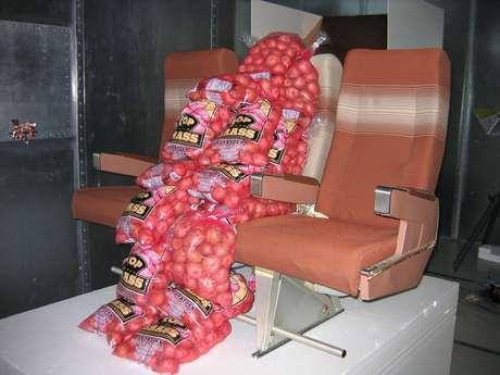 Fotografía de archivo de 2006 provista por Boeing Co. que muestra las primeras pruebas del uso de sacos de papas para detectar los puntos flacos en las señales inalámbricas de internet en aviones en un laboratorio en Arizona.  Foto: Cortesía de Boeing Co., Archivo / AP
