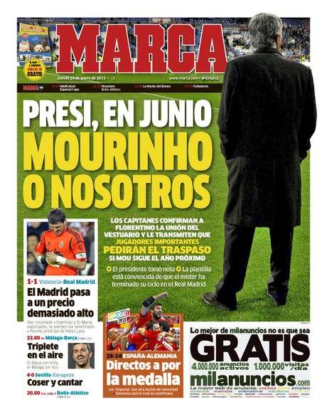 La portada de Marca en donde habla la reunión de los capitanes del Madrid con el presidente Pérez. Foto: Divulgación