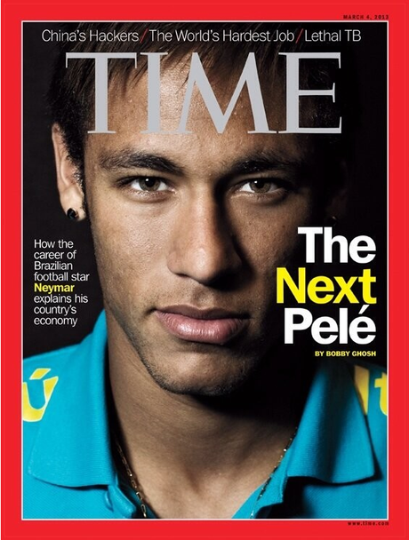 Neymar is the latest soccer star to grace the illustrious cover of Time Magazine.  Foto: Time Magazine