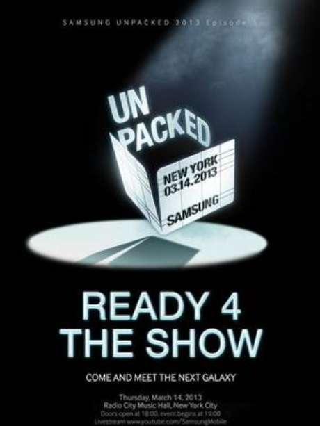 Samsung envió invitaciones a los medios de comunicación para el evento del 14 de marzo en Nueva York. Foto: Reproducción