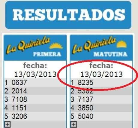 El número ganador de la Quiniela matutina del 13 de marzo en la página web de la Quiniela Nacional Foto: web