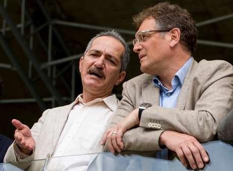 Reblo y Valcke, durante la visita del secretario general de la FIFA a los estadios de Brasil este mes. Foto: Getty Images