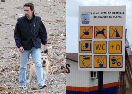 José María Aznar, paseando por la playa de Guadalmina, donde está prohibido de momento el paso de animales.  Foto: Gtres