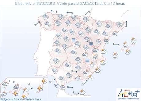 Previsión del tiempo para el miércoles 27 Foto: AEMET