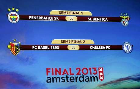 La pantalla gigante muestra los duelos que dejará a dos clasificados para la final de Ámsterdam. Foto: Reuters