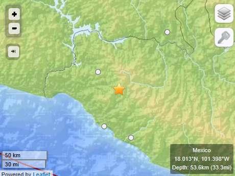 De acuerdo con el Servicio Geológico de los Estados Unidos (United States Geological Survey, USGS), el temblor tuvo una magnitud de 5.2 grados con una profundidad de 53 km., en las costas de Guerrero. Foto: Terra
