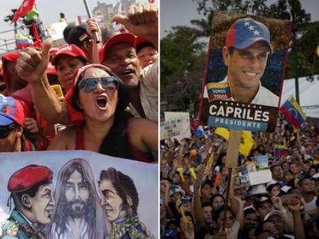 Los chavistas y simpatizantes de Capriles. Foto: EFE en español