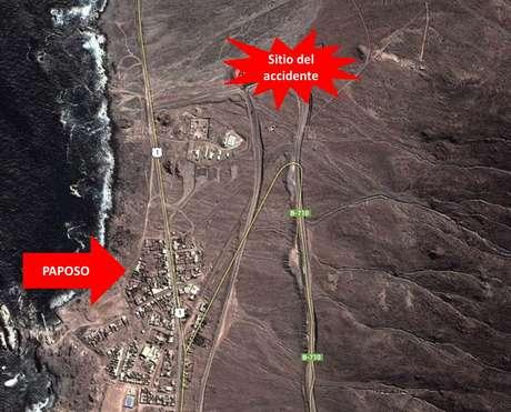 El accidente ocurrió en el kilómetro 3 de la ruta B 710, en las cercanías de Paposo, en la región de Antofagasta. Foto: Imagen geográfica de Google Maps
