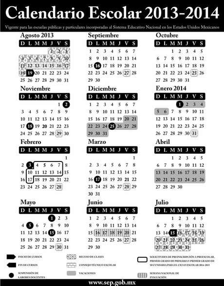 Calendario escolar para el ciclo lectivo 2013-2014, aplicable en toda la República para las escuelas de educación preescolar, primaria, secundaria, normal y demás para la formación de maestros de educación básica, públicas y particulares incorporadas al Sistema Educativo Nacional. Foto: SEP / Terra