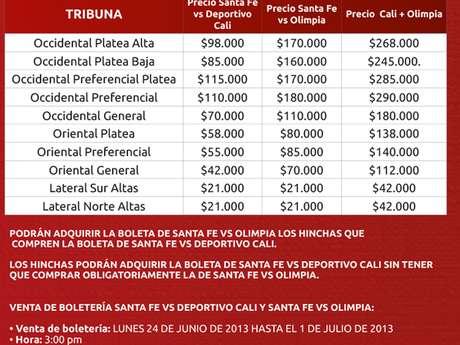 Información Boletería partido Independiente Santa Fe - Olimpia Foto: Independiente Santa Fe