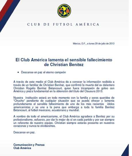 América lamenta muerte de Benítez. Foto: Cortesía Club América
