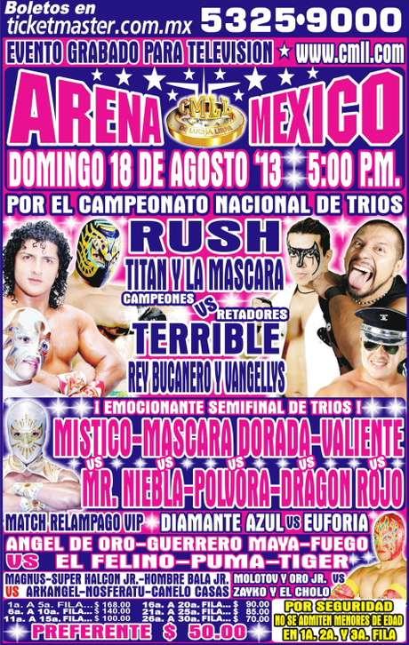 Cartelera gráfica del 18 de agosto del 2013 en la Arena México Foto: Terra