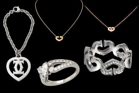 cartier mimetiz su logo de doble c con los corazones en roro blanco precios entre
