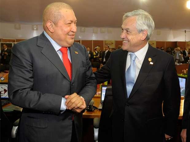 Los presidentes Hugo Chávez y Sebastián Piñera. Foto: Gentileza / Presidencia de la República de Chile