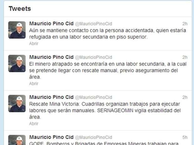 El seremi de Minería de Atacama, Mauricio Pino Cid, ha informado a través de su cuenta en Twitter sobre el desarrollo de las labores de rescate. Foto: Reproducción
