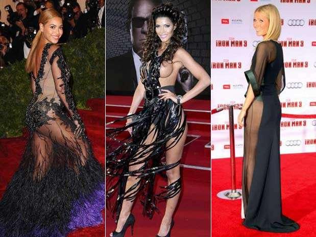 famosas lucen vestidos con transparencia y sin ropa interior