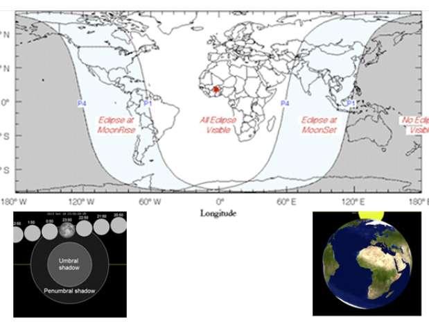 Diagramas muestran las zonas donde el fenómeno será visible Foto: Wikipedia