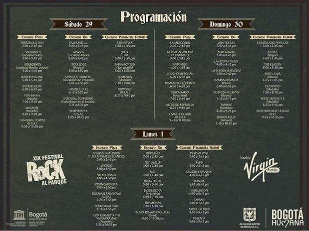 Programación Rock al Parque 2013. Foto: Reproducción