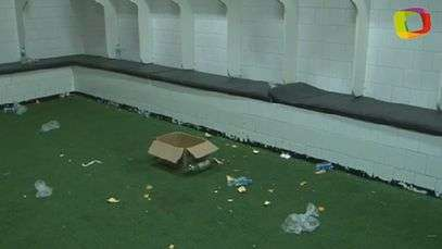 This is what the locker room looked like hours after the game.