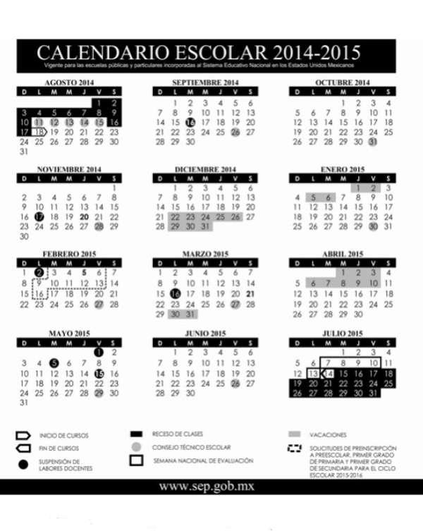 SEP presenta calendario escolar 2014-2015